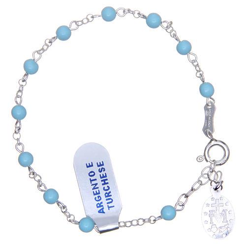 Bracciale rosario turchese argento 925 4 mm 2