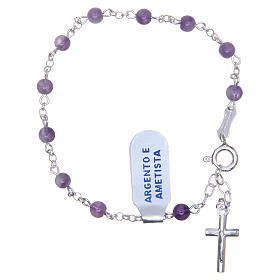 Gold and silver bracelets: Bracelet rosary in 925 silver and amethyst 4mm with cross