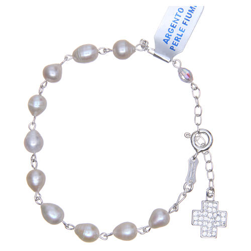 Bracciale perla fiume argento 800 6 mm croce pavè 2