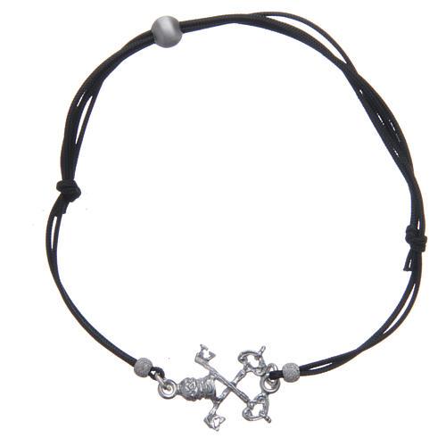 Bracciale Chiavi San Pietro argento 925 e corda nera 1