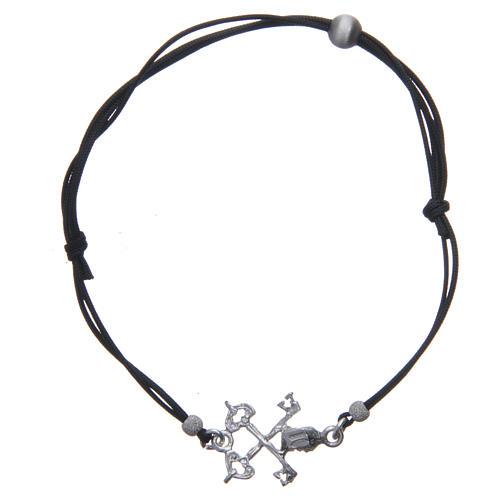 Bracciale Chiavi San Pietro argento 925 e corda nera 2