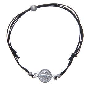 Bracelet médaille Saint Benoît et perles argent 925 s1