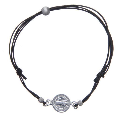 Bracelet médaille Saint Benoît et perles argent 925 1