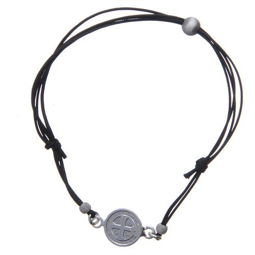 Bracelet médaille Saint Benoît et perles argent 925 2