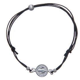 Bracciale Medaglia San Benedetto e perline argento 925 s1