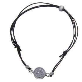 Pulseira medalha São Bento e contas prata 925