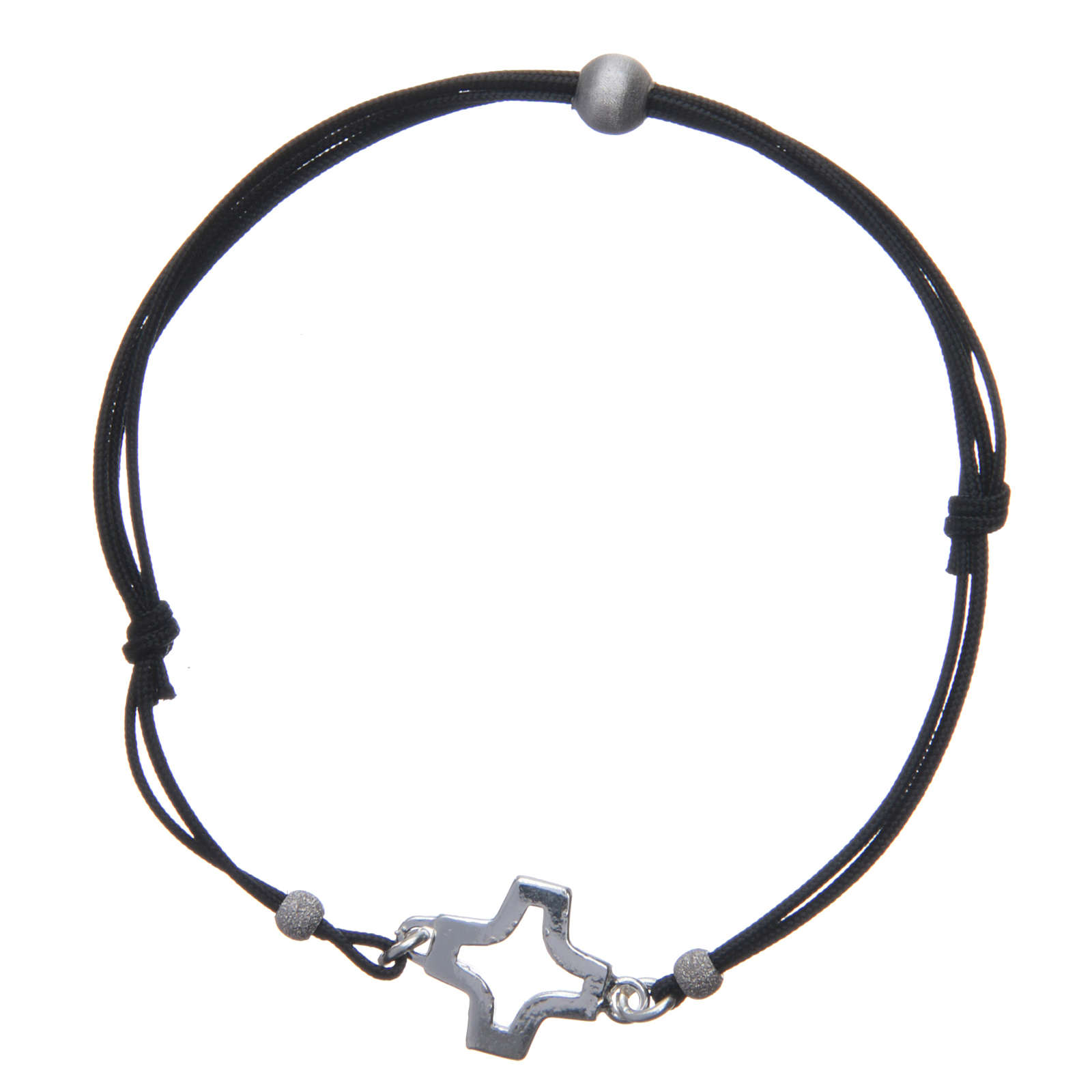 Bracelet with perforated cross in 925 silver and cord 4