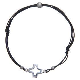 Bracciale croce traforata argento 800 e corda s1