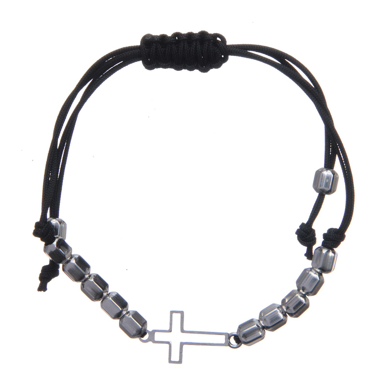 Bracciale decina in sagola con croce e perle Argento 925 4