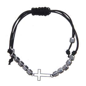 Bracciale decina in sagola con croce e perle Argento 925 s1