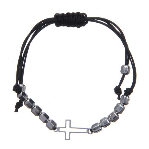 Bracciale decina in sagola con croce e perle Argento 925 1
