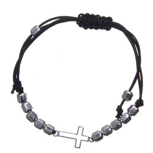 Bracciale decina in sagola con croce e perle Argento 925 2
