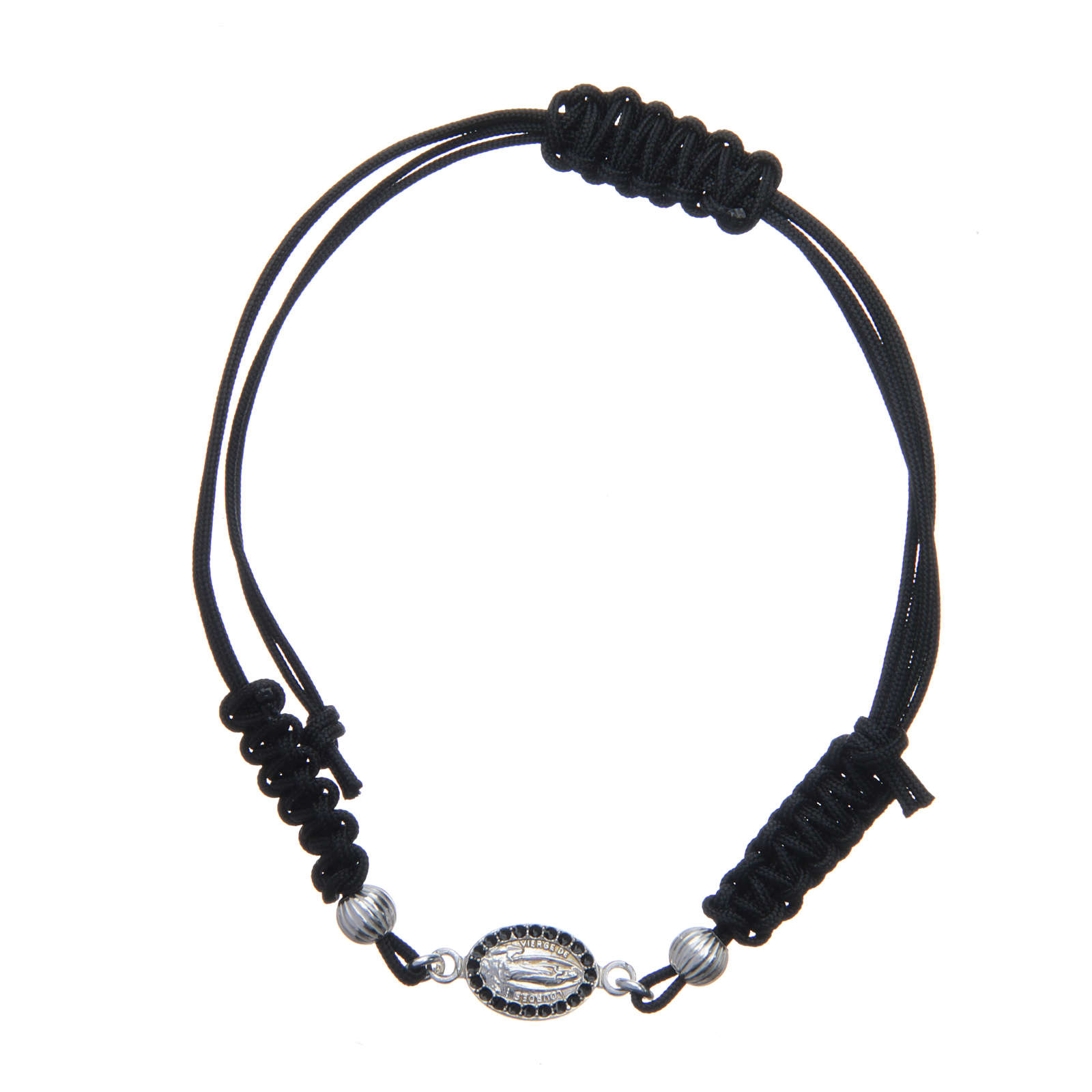 Bracelet with Our Lady of Lourdes medal in 925 silver, black cord 4