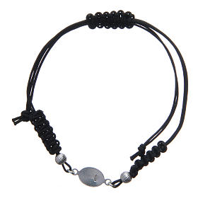 Bracelet with Our Lady of Lourdes medal in 925 silver, black cord s2