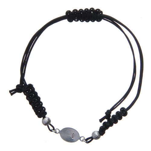 Bracelet with Our Lady of Lourdes medal in 925 silver, black cord 2