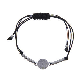 Bracelet in 800 silver and cord with Pope Francis medal s2