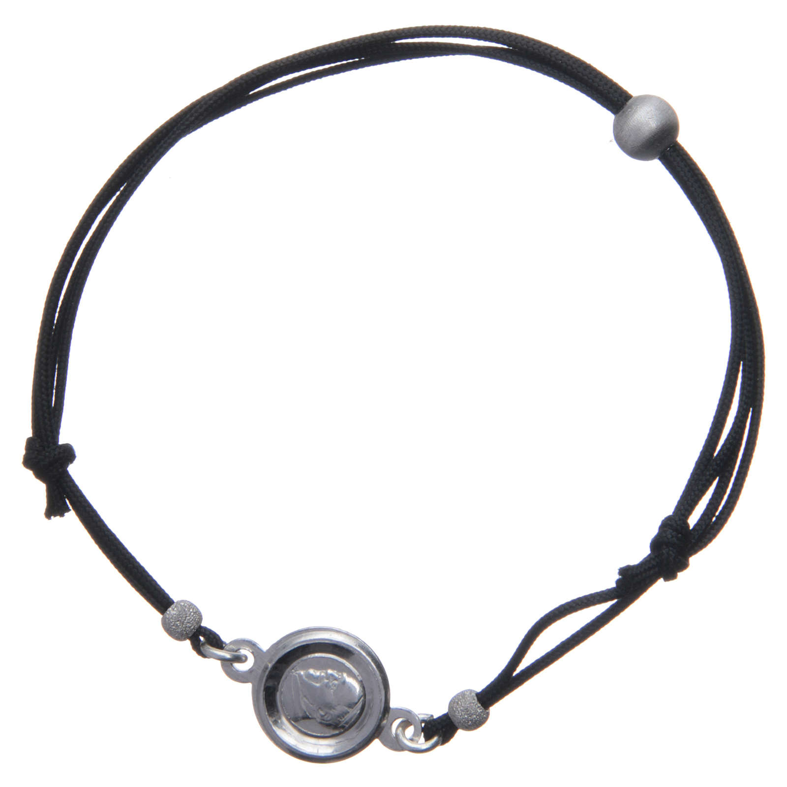 Bracelet médaille visage Pape François argent 925 et corde 4
