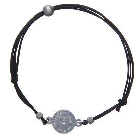 Bracelet médaille visage Pape François argent 925 et corde s2