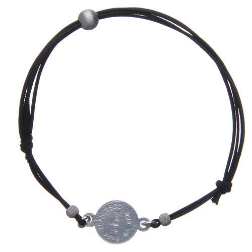 Bracelet médaille visage Pape François argent 925 et corde 2