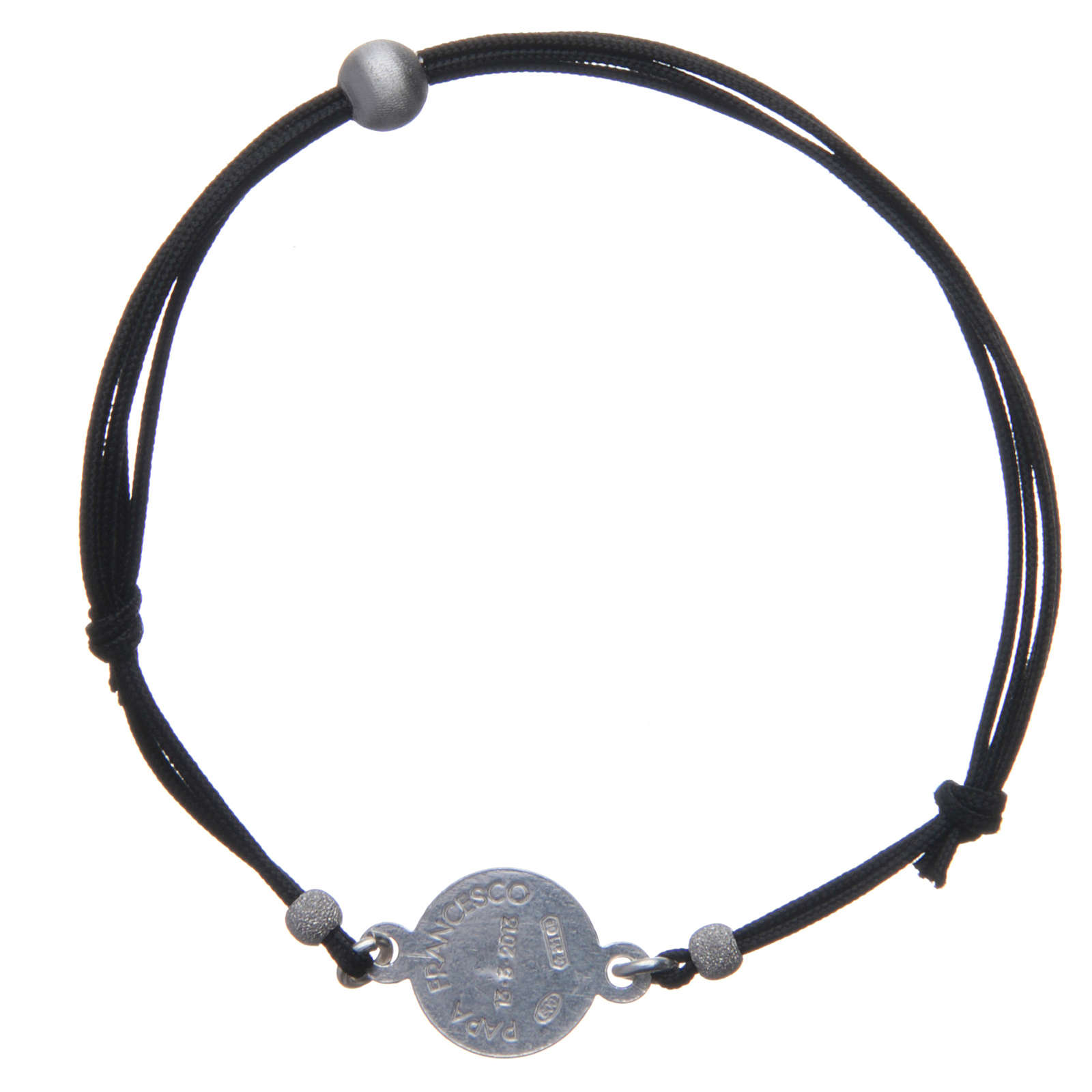 Religious Bracelet in 925 silver and cord with Pope Francis medal 4