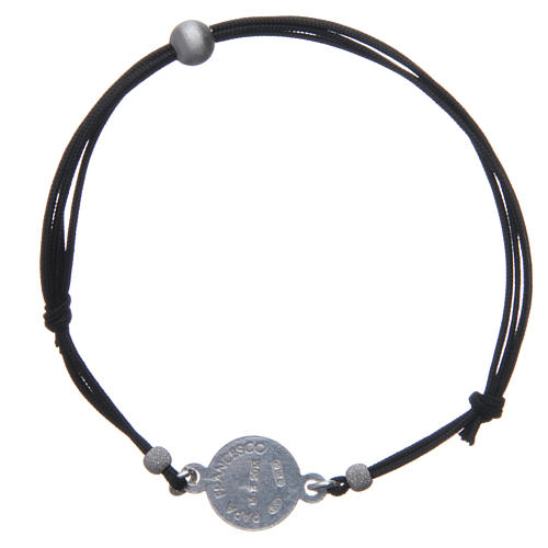 Religious Bracelet in 925 silver and cord with Pope Francis medal 2