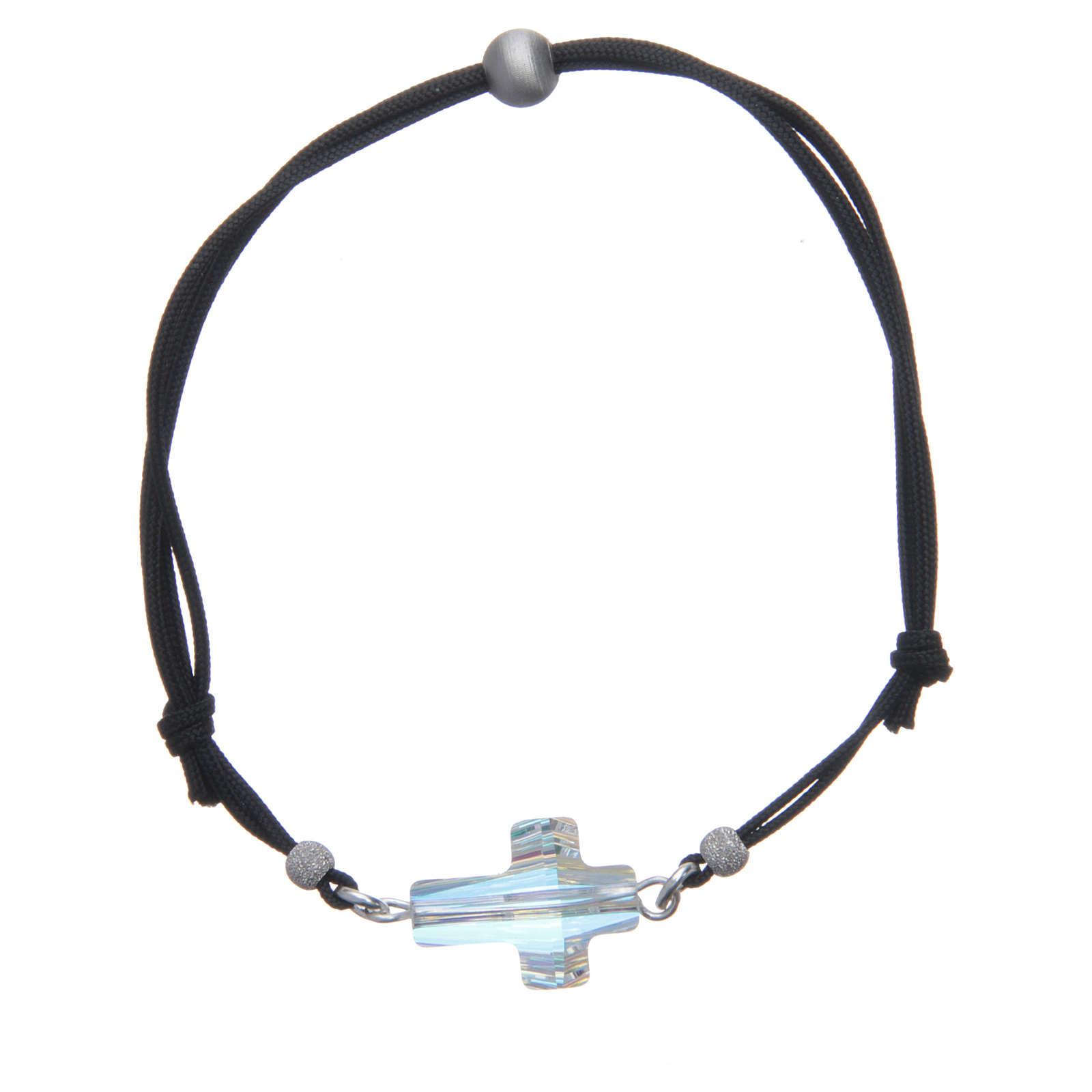 Bracciale in corda con croce Swarovski bianco 4