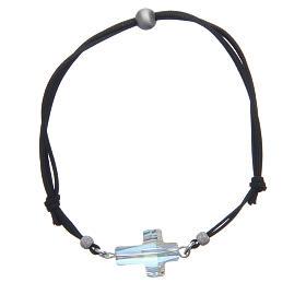 Bracciale in corda con croce Swarovski bianco s1