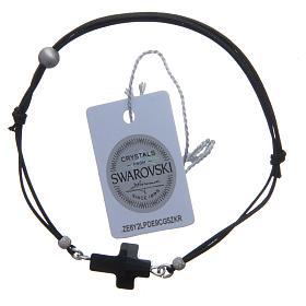 Bransoletka ze sznurka  krzyżyk Swarovski czarny s2