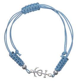 Pulseira corda azul Fé Esperança e Caridade prata 800 s1