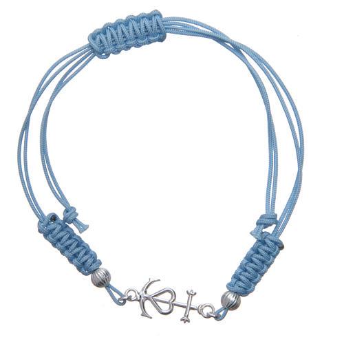 Pulseira corda azul Fé Esperança e Caridade prata 800 1