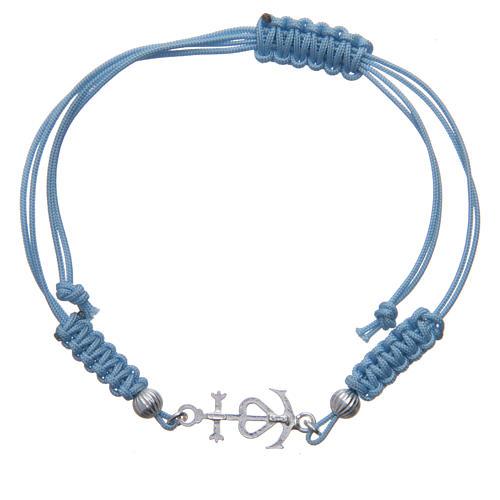 Pulseira corda azul Fé Esperança e Caridade prata 800 2