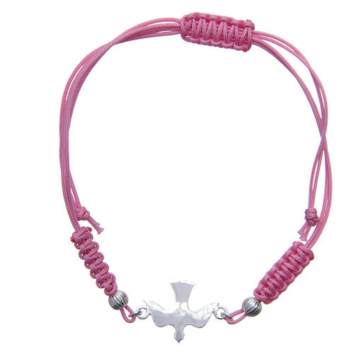 Bracciale Colomba Argento 800 sagola rosa 1