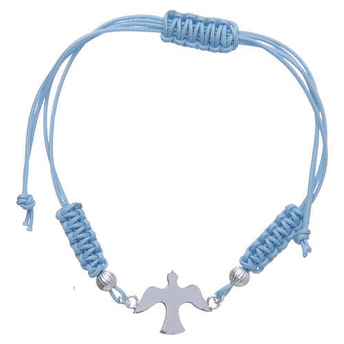 Bracelet corde bleu clair colombe argent 800