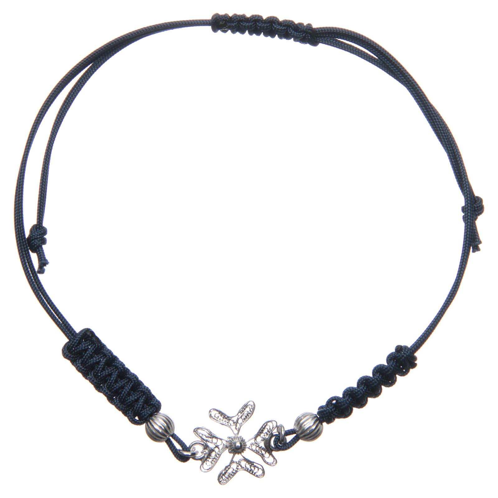 Bracciale con croce in Argento 800 in filigrana corda blu 4