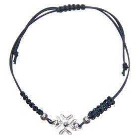 Bracciale con croce in Argento 800 in filigrana corda blu s1