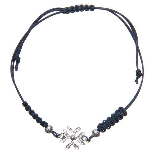 Bracciale con croce in Argento 800 in filigrana corda blu 1
