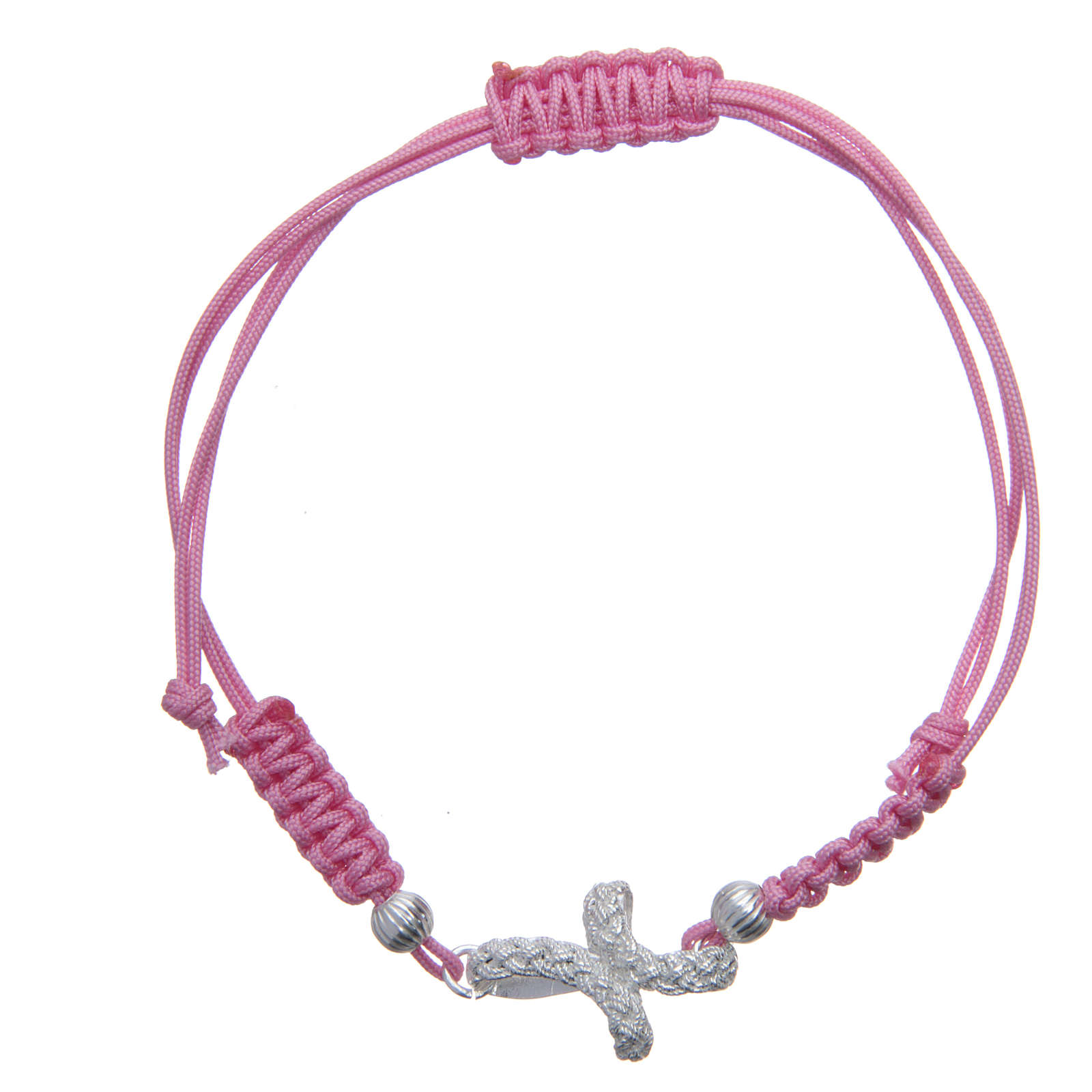 Bracciale croce treccia argento 800 sagola rosa 4