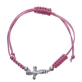Bracciale croce treccia argento 800 sagola rosa s2