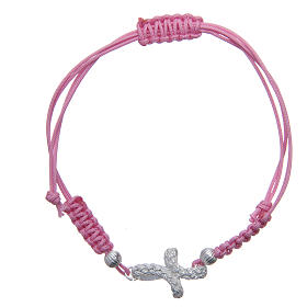 Gold and silver bracelets: Bracelet with knotted cross in 925 silver and pink cord