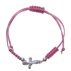 Bracelet with knotted cross in 925 silver and pink cord s2