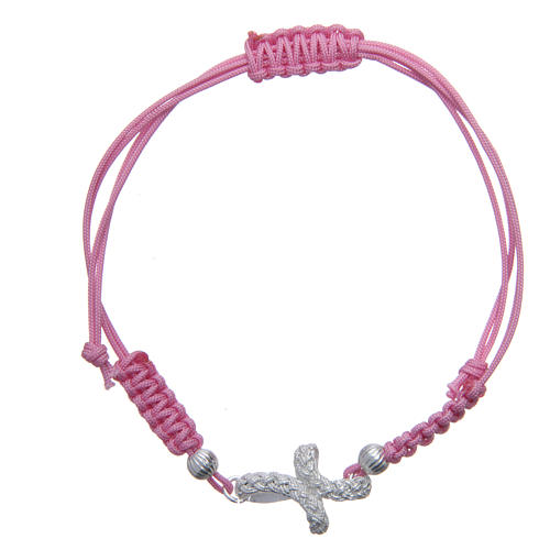 Bracelet with knotted cross in 925 silver and pink cord 1