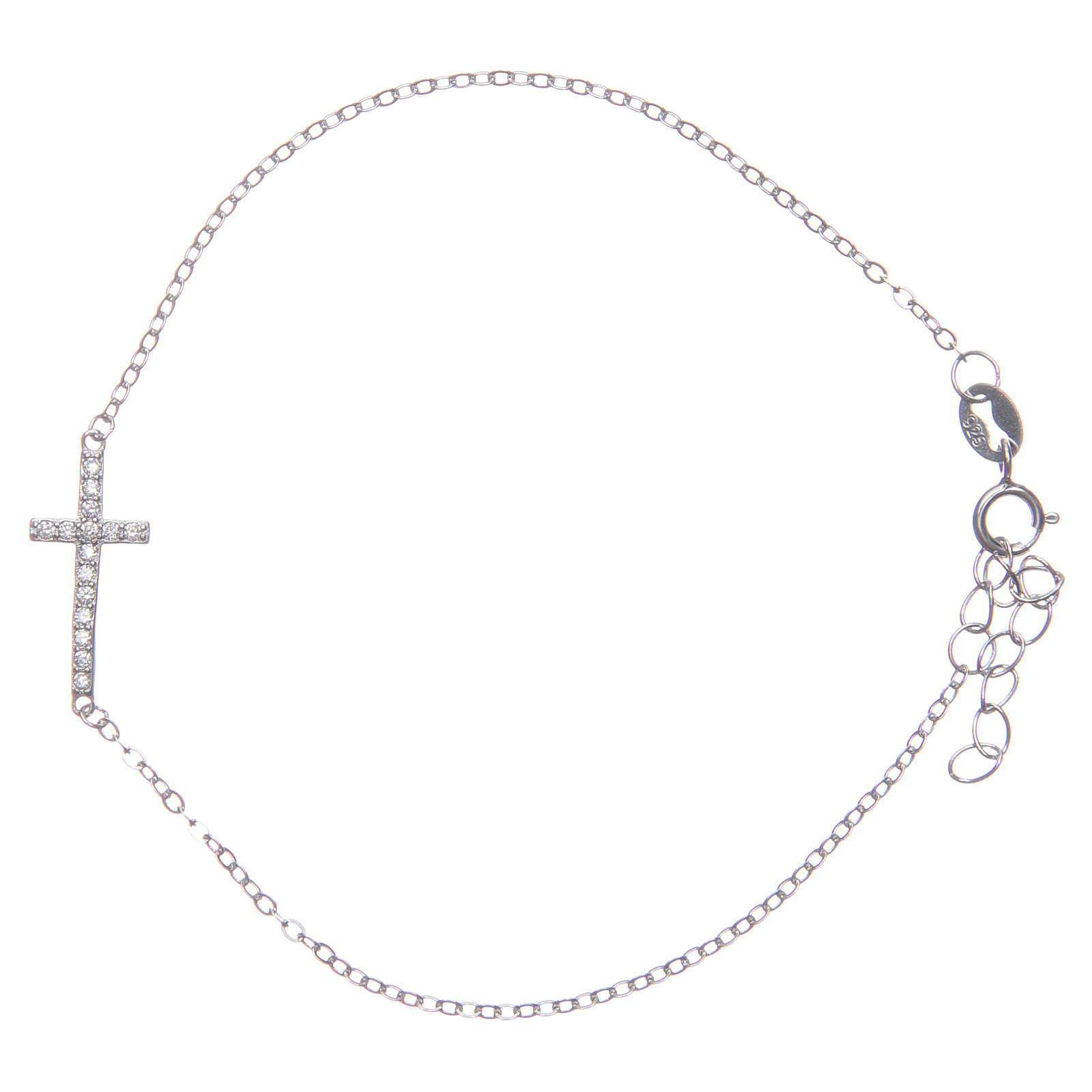 Bracelet with cross in 925 sterling silver finished in rhodium 4