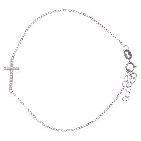 Bracelet with cross in 925 sterling silver finished in rhodium s1