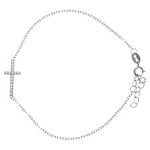 Bracelet with cross in 925 sterling silver finished in rhodium 1