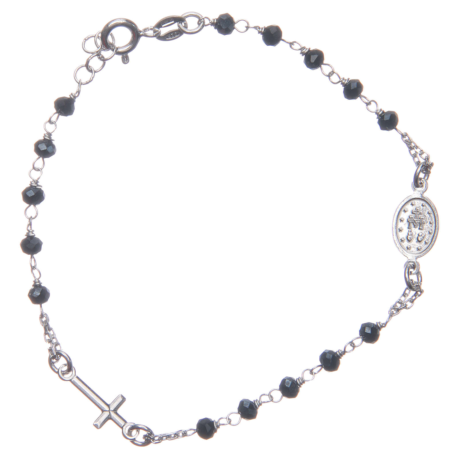 Bracciale rosario colore blu argento 925 4