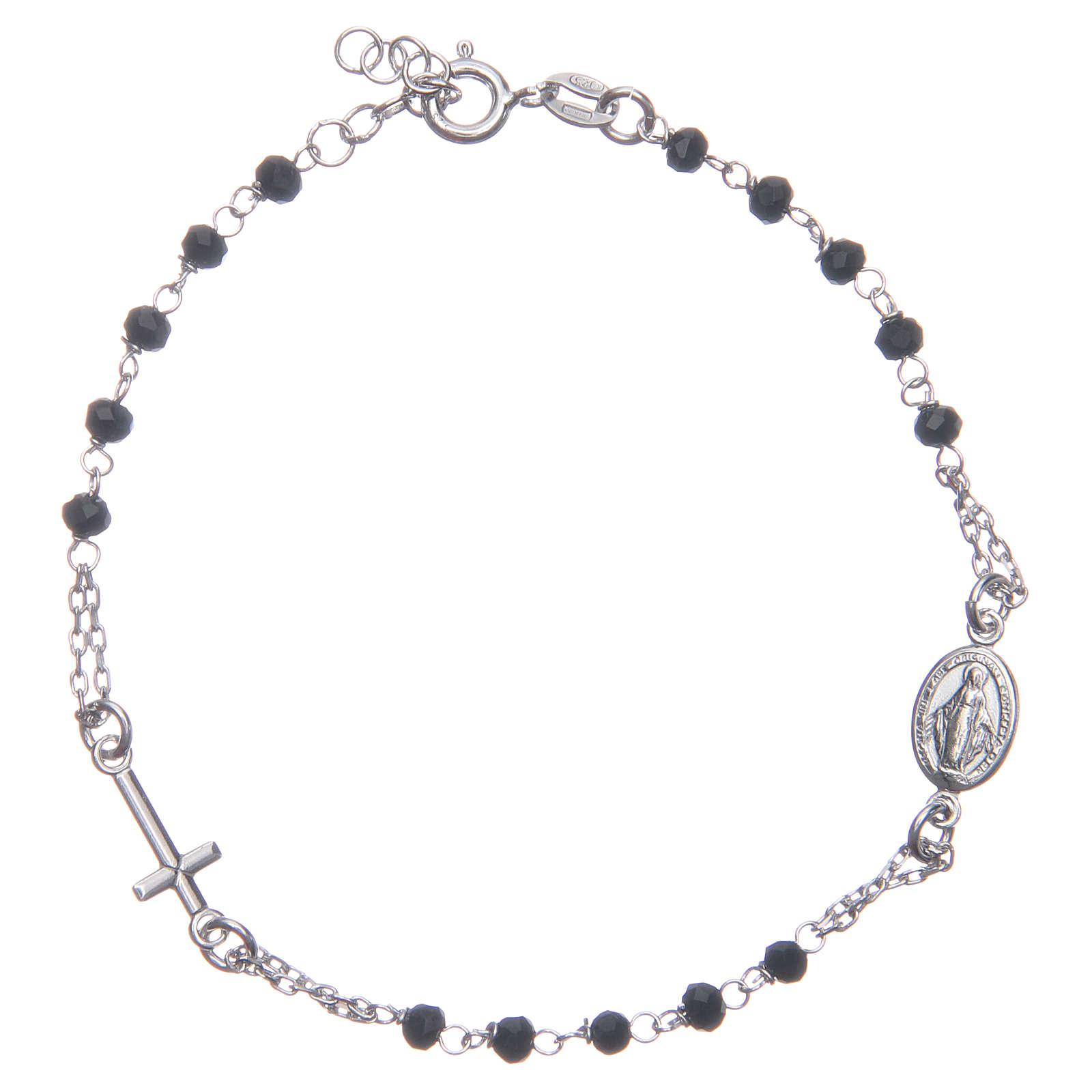 Pulsera rosario color negro plata 925 4