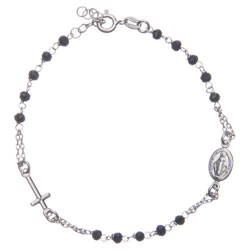Pulsera rosario color negro plata 925 1