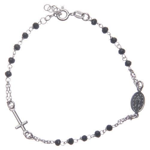 Pulsera rosario color negro plata 925 2