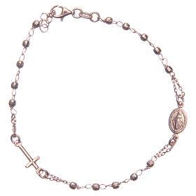Pulsera rosario color rosado plata 925 s1