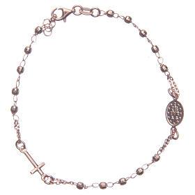 Pulsera rosario color rosado plata 925 s2